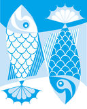 Fish pattern. Illustration yin yang one-colour fish Royalty Free Stock Images