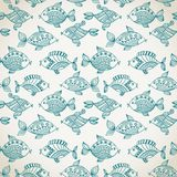 Fish pattern in abstract style. Blue Royalty Free Stock Photography