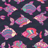 Fish pattern in abstract style. Color texture Stock Images