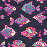 Fish pattern in abstract style. Copy square to the side and you' Royalty Free Stock Photo