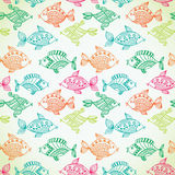Fish pattern in abstract style. Copy square to the side and you'. Ll get seamlessly tiling pattern which gives the resulting image ability to be repeated or Royalty Free Stock Photography