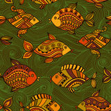 Fish pattern in abstract style. Copy square to the side and you'. Ll get seamlessly tiling pattern which gives the resulting image ability to be repeated or Royalty Free Stock Image