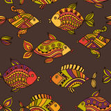 Fish pattern in abstract style. Copy square to the side and you'. Ll get seamlessly tiling pattern which gives the resulting image ability to be repeated or Stock Photography