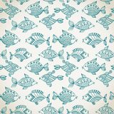 Fish pattern in abstract style. Copy square to the side and you'. Ll get seamlessly tiling pattern which gives the resulting image ability to be repeated or Stock Images