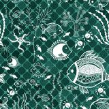 Fish pattern in abstract style Royalty Free Stock Images