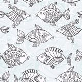 Fish pattern in abstract style.Seamless pattern can be used for. Wallpaper, pattern fills, web page background,surface textures. Detailed fish background Stock Image