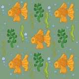 Fish pattern in doodle style Royalty Free Stock Image
