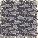 Fish pattern in grunge Stock Photo