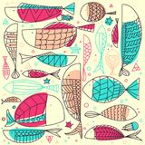 Fish Pattern Hand Drawn. Underwater doodle collection. Fish Pattern Hand Drawn tribal style. Underwater doodle collection created by vector Royalty Free Stock Photography