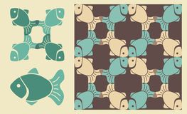 Fish pattern. Seamless background with images of fishes Stock Images