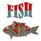 Fish Pattern Text. Isolated on White Background Royalty Free Stock Image