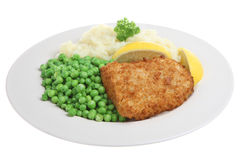 Fish, Peas and Mashed Potato Royalty Free Stock Photography