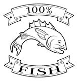 Fish 100 percent label. 100 percent fish food icon of a fish in a stamp style stock illustration