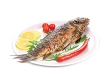 Fish  perch on a plate with vegetables and lemon Stock Photos