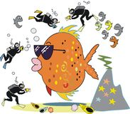 Fish photography cartoon. Underwater cartoon showing large orange fish with skin divers photographing it Royalty Free Stock Photo