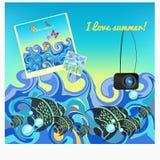 Fish photos at sea in summer. vector illustration Royalty Free Stock Image
