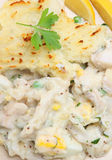 Fish Pie. Baked with haddock and cod and topped with mashed potato Stock Image