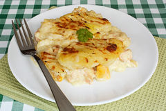 Fish pie on cafe table Stock Photo