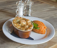 Fish pie and mashed swede Royalty Free Stock Images