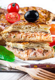 Fish pie with salmon and tomatoes Stock Images