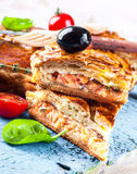 Fish pie with salmon and tomatoes Royalty Free Stock Image