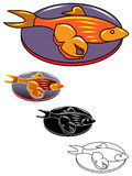 Fish and piece. Line art hot fried fish and piece on a plate design Royalty Free Stock Photo