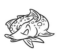 Fish pike sleeps cartoon coloring pages Royalty Free Stock Photography
