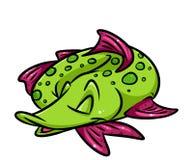 Fish pike sleeps cartoon illustration Royalty Free Stock Image