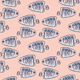 Fish pink and blue marine cute seamless pattern. Fish pink and blue marine cute seamless vector pattern. Cartoon fish background Royalty Free Stock Photography