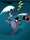 Fish pirate. In a hurricane sea, vector cartoon Royalty Free Stock Image