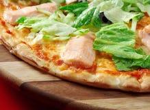 Fish Pizza Atlantic salmon stock photos