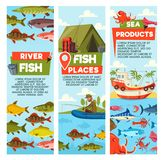 River fish and seafood products vector banners. Fish places and seafood banners. Fisherman on inflatable boat and waterproof tent, bucket and rods, backpack and Stock Photography