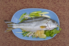 Fish in the plate Stock Images