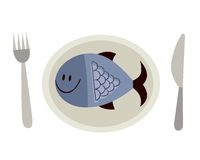 Fish on a plate. Illustration of a fish on a plate Royalty Free Stock Photos