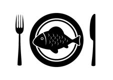 Fish on plate. Fish icon on porcelain plate Stock Photography
