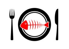 Fish on plate. Red fish on porcelain plate Royalty Free Stock Photography