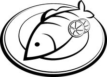 Fish on a plate. Black contour Stock Images