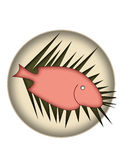 Fish on a plate. Isolated illustration Royalty Free Stock Photos
