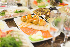 Fish Plate and Buns with Caviar Stock Image
