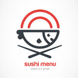 Fish, plate, chopsticks line illustration. Japanese cuisine vect Stock Images