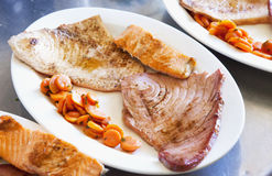 Fish on a plate Royalty Free Stock Photos