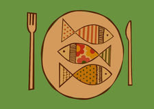Fish plate. We eat fish from restaurant Royalty Free Stock Photo