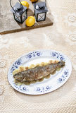 Fish plate in greek tavern. Roasted trout Royalty Free Stock Photography
