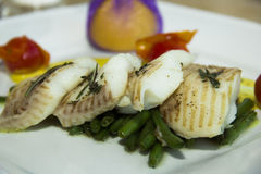 Fish on the plate  halibut Stock Photos