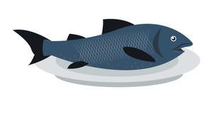 Fish on plate icon. Flat design blue fish on plate illustration stock illustration