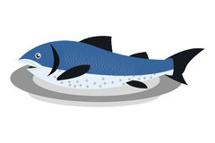 Fish on plate icon. Simple flat design fish on plate icon  illustration Royalty Free Stock Photos