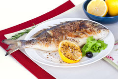 Fish on a plate with lemon and olives in still Stock Images