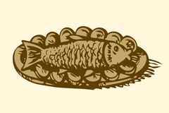 Fish in a plate with lemon. Vector drawing Stock Photo