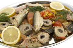 Fish plate with smoked fish Royalty Free Stock Photography