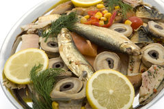 Fish plate with smoked fish Royalty Free Stock Images